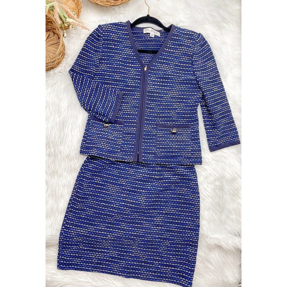 St John Collection Blue tweed skirt jacket suit